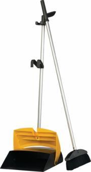 Kehrset Stiel mit Schaufel und Besen montiert anthrazit/gelb